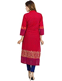 Zoeyams Women's Red Cotton Block Prints Long Straight Kurti