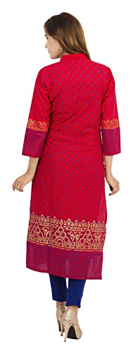 Zoeyams Women's Red Cotton Block Prints Long Straight Kurti