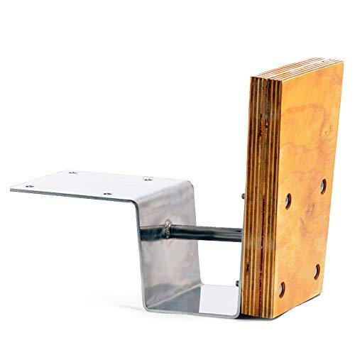 wellenshop Aussenborder Motorhalterung bis 15 PS für Heckspiegel Edelstahl Holz
