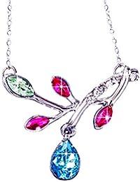 """Rolicia """"Diamants Feuilles"""" Plaque d'Argent Multi Couleur Cristal Tchèque 3.5 * 3.3 Cm Collier Pendentif De La Chaîne 40 + 5 Cm"""