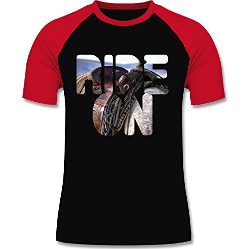 Statement Shirts - Ride on Pferd reiten - zweifarbiges Baseballshirt für Männer Schwarz/Rot
