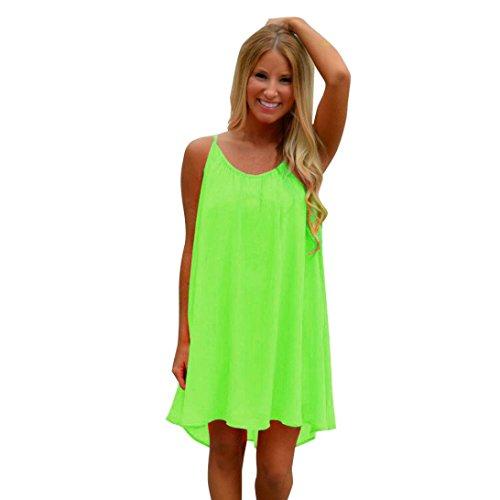 on Strandkleid Solide Sommerkleid Knielang Kleider Zurück Aushöhlen Maxikleid Kleid Rock Mädchen Frauen Ärmellos Kleidung Abendkleider Kurz Partykleid (XL, Grün 2) (Günstige Mädchen Kleider)