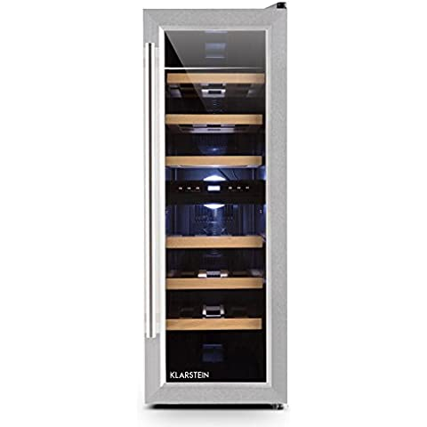 Klarstein Reserva Duett cantinetta vino frigorifero con 6 ripiani e 2 zone di raffreddamento programmabili (65 litri, 21 bottiglie, ripiani in legno, pannello di controllo touch, illuminazione LED) - silver - 8x10 Di Legno Della Struttura