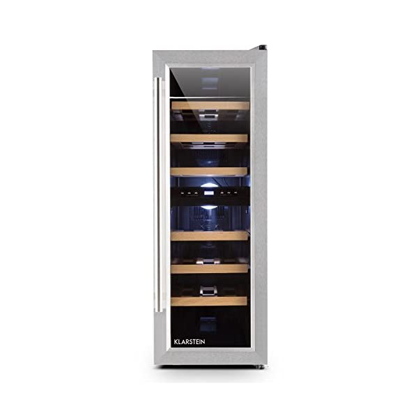 Klarstein Reserva Duett 12 Wine Refrigerator – Cooler, Fridge, 65 Litres, 21 Bottles, 2 Programmable Cooling Zones, 6 Removable Wooden Shelf inserts, LED, Double-Insulated Glass Door, Silver 41cArurKQXL
