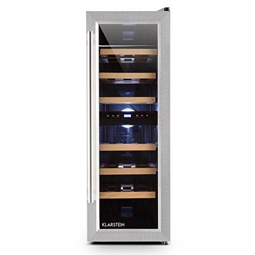 Klarstein Reserva Duett 12 - Wneinkühlschrank, Getränkekühlschrank, Weinklimaschrank, Platz für 21 Normflaschen, 2 Programmierbare Kühlzonen, LED-Innenraumbeleuchtung, 6 Regaleischübe, silber