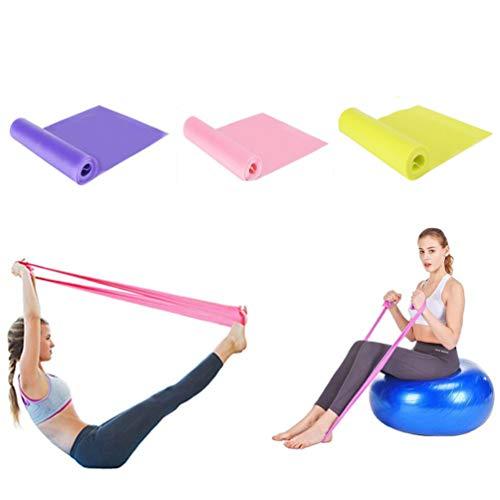 elastiche fitness set di 3 banda elastica fasce resistenza per fitness yoga 1,5 metri fasce elastiche per terapia   fasce per pilates,allenamento per la forza di alta qualità (rosa + giallo + viola)