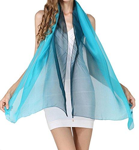 Helan femmes Réel Soie Naturelle 186 X 68 cm Gradients Color Foulards longs Bleu foncé et bleu clair