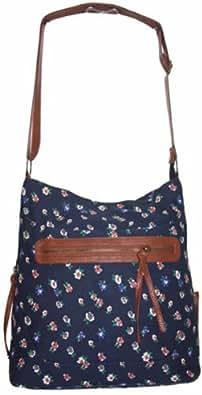 Ladies Canvas Across Body Shoulder Bag Large Satchel Handbag (Daisy Flowers/Navy Blue)