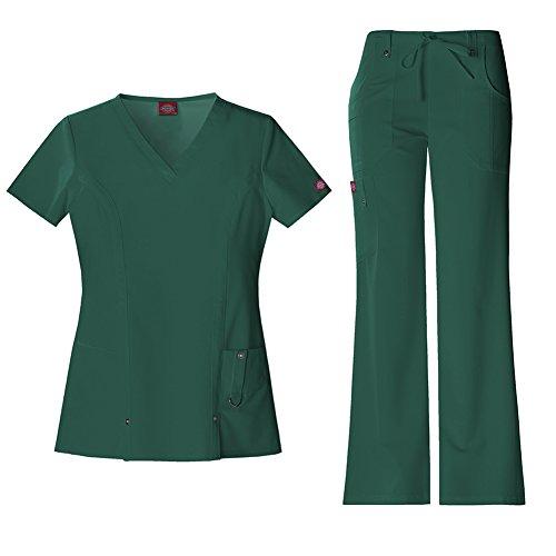 Dickies Xtreme Stretch Women's V-Neck Top 82851 & Drawstring Pant 82011 Scrub Set (Hunter - Small) (Top Drawstring-scrub)