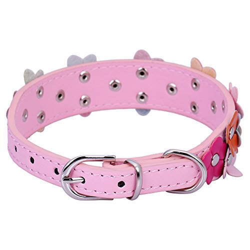 Pet-Moon-Soft-Leather-Dog-Collar-Flower-Colour-Padded-Mulitple-Colours-Pink-Mediem115-152-in