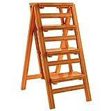 ZENGAI Klapphocker Trittleiter Multifunktion Vier-Stufenleiter Aus Massivem Holz Haushalt Steige Die Leiter Hinauf, 3 Farben (Farbe : Gelb)