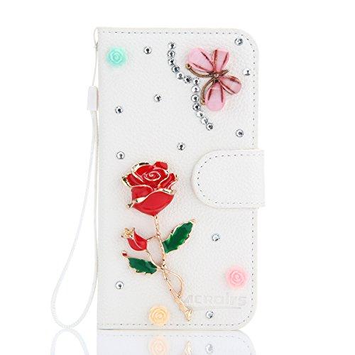 Huawei Ascend G6 Hülle, CaseFirst Luxus Diamant Handyhülle Stoßfest Brieftasche Etui Handyhülle Anti-kratzer PU Leather Wallet Case mit Karte Slots & Supporter