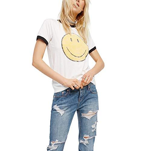 Women's Smiley Face Ringer T-shirt. S, M, L