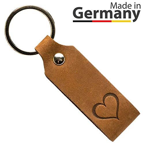 Schlüsselanhänger Leder mit Gravur Herz Geschenk für Frauen Männer Partner Geburtstag Liebe Handmade in Germany