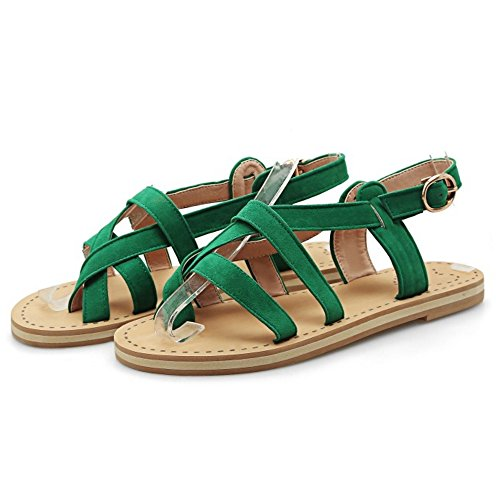COOLCEPT Damen Mode Slip On Sandalen Slingback Flach Schuhe Grun