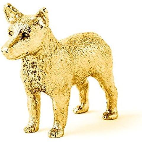 Pastor ganadero australiano Hecho en Reino Unido Artístico Perro Figura Colección (bañoda en oro de 22