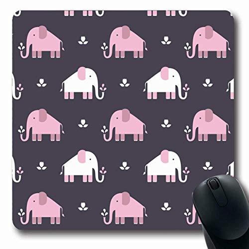 Luancrop Mousepad für Computer Notebook Pink Springbrunnen Elefanten Muster Flach Afrika Arena Asien Ruhe Ceylon Elefant rutschfeste Gaming Mauspad