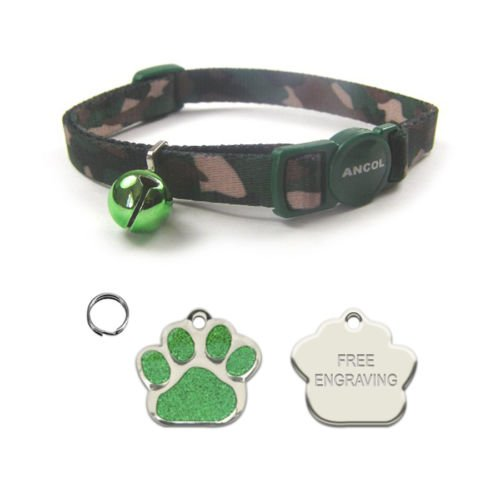 ANCOL Cat Green Camouflage Quick Release Collar With Engraved Paw Print Shaped Glitter Cat ID Tag