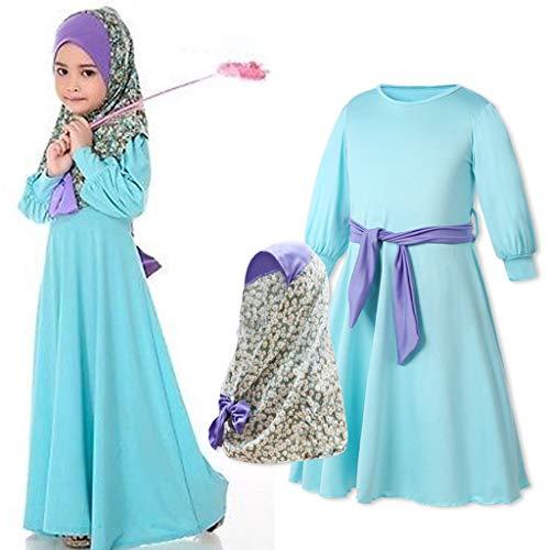 eidung Mädchen,Kinder Muslimische Kleider Islamisch Robes Arabien Maxi Kleid Trompetenärmel Türkei Kirche Ethnische Kaftan Apparel Abaya Lange Kleider ()