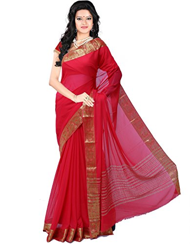 Roopkala Women Mysore Chiffon Silk Saree (DS-236,Red)