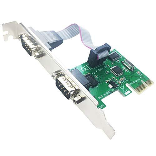 GLOTRENDS Tarjeta de expansión serie RS232 de 2 puertos con soporte de perfil bajo (PCI-E 2S)