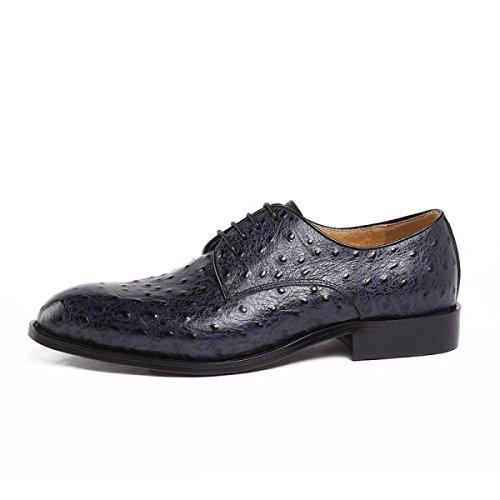 GRRONG Chaussures En Cuir Pour Hommes Banquet D'affaires En Cuir Véritable Robe Formelle blue