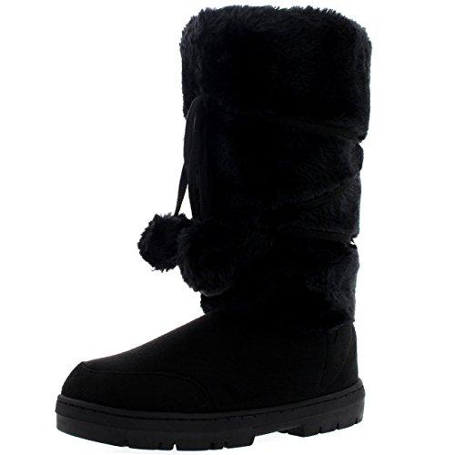 Womens Pom Pom Tall Rain Snow Winter Flat Warm Lace Up Boots...