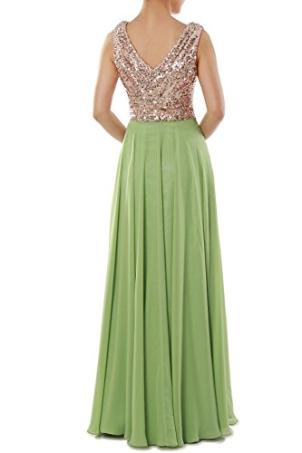 MACloth Women V Neck Sequin Chiffon Long Bridesmaid Dress Formal Evening Gown Rose Gold - Ivory