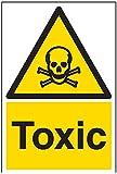 vsafety Schilder 6a015au-r Giftig Achtung Substanz und chemische Zeichen, 1mm starrer Kunststoff, Portrait, 200mm x 300mm, schwarz/gelb