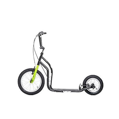 yedoo Noir/Vert Trottinette–Kick Bike–vient avec pneus à air pour adulte jusqu'à 120kg Scooter de 12ans teilmontiert dans le