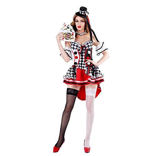 Kragen Herzen Königin Kostüm Der - Z&X Halloween Kostüm - Königin der Herzen Kostüm Alice Fantasy Wonderland Poker Girl Adult Clown Smoking Kleid für Party und Maskerade,XL