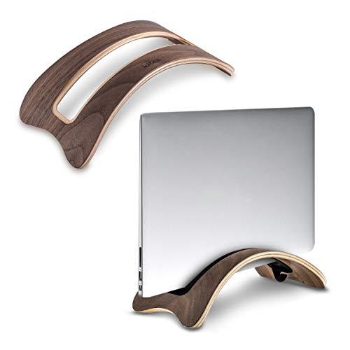 kalibri Laptop Ständer Notebook Stand - Halterung aus Holz 3X Silikoneinsatz für MacBook Air/Pro/Pro Retina/Tablet iPad - Walnussholz -