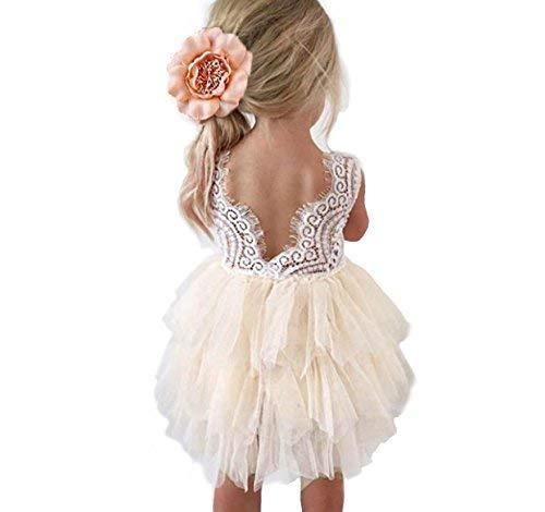 ckless A-Line Spitze Rücken Blumen-Kleid 6-12months 6-12 Monate Elfenbein ()