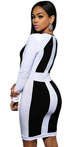 La Vogue Décolleté Robe Slim Col V Profond Genou Manche Longue Femme Bureau OL Noir