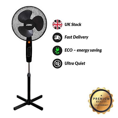 41cAya1xEgL. SS500  - Black Cooling Fan 16 inch Silent 3 Speed Pedestal Free Standing Fans for Cool Air at Home and office By JUNU