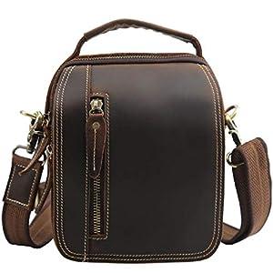 Maletín de Viaje de Cuero Vintage para Hombre Maletín de Cuero de Caballo Loco Ocio Bolsa Causal (Color : Brown, Size : 20x16x10cm)