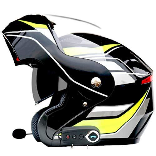 Qianliuk Motociclo Moto Casco antiappannante Dual Lens Completo Tappo di Sicurezza Flip up caSchi Adulto Casco Motocross con Bluetooth FM