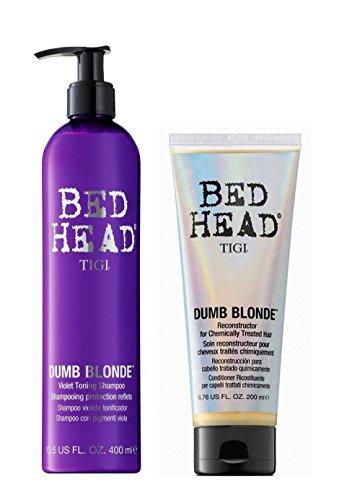 TIGI Bed Head Dumb Blonde Duo Purple Toning Shampoo 400ml + Reconstructor 200ml -