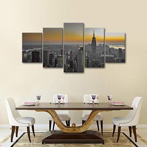 5 Stück HD Gedruckt Leinwanddrucke Manhattan Sunset Multi Panel Leinwand Wandkunst Panel Großes Poster Gemälde -