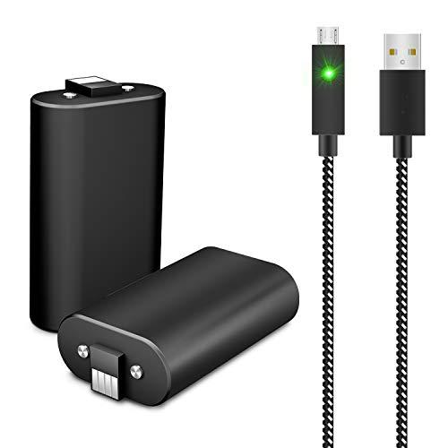 Ponkor Contrtlador Xbox One Batería y Cable USB de Carga, Mando Recargable Batería Packs 2 x 1600mAh para Xbox One, Xbox One Elite, Xbox One S, Xbox One X Kit De Carga Y Juega