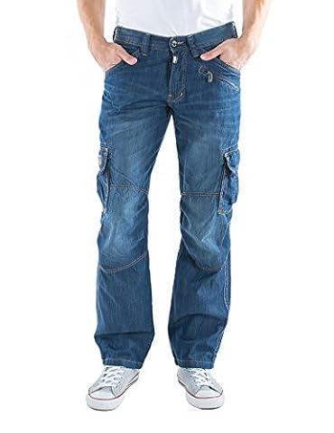 Timezone Herren Straight Leg Straight (gerades Bein) Loose Benito cargo 27 - 10022 - 21 - 3336, Einfarbig, Gr. W33/L34 (33/34), Blau (dark 3007)
