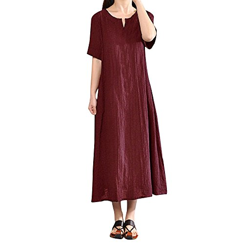 ize Böhmen Casual Solide V-Ausschnitt Kurzarm Maxi Strandkleid Baumwolle Leinen Langes Kleid ()