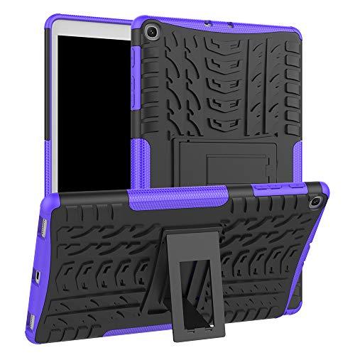 HoYiXi Samsung Galaxy Tab A 10.1 2019 Tablette Hülle Stoßfeste Doppelte Schutzhülle mit Ständer Anti-Drop Cover Case für Samsung Galaxy Tab A 10.1 T510/T515 2019 - lila - 2 Lila Galaxy Tab Case Samsung