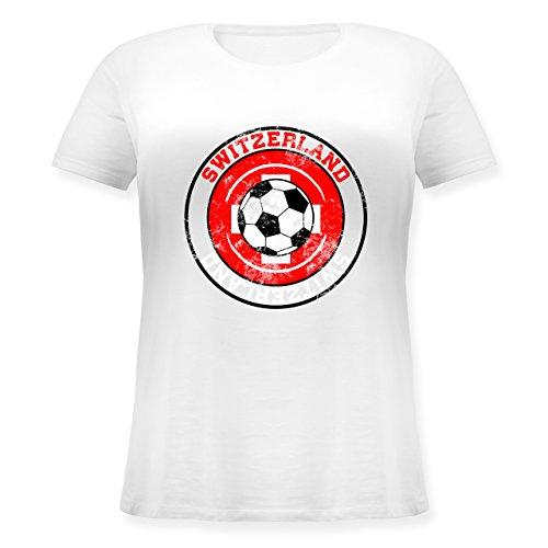 EM 2016 - Frankreich - Switzerland Kreis & Fußball Vintage - Lockeres Damen-Shirt in großen Größen mit Rundhalsausschnitt Weiß