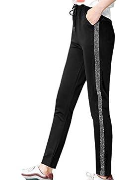 Fräulein Fox Mujeres Fitness Pantalones Moda Lado Rayas Pantalón con Cordón Casual Nueve Puntos Pants de Deporte...
