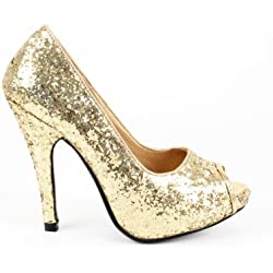 Zapatos de tacón estilo peep toe AM239, de Andrés Machado. De punta abierta. De ante sintético. Color: borgoña de la 32 a la 46, color Dorado, talla 42 2/3