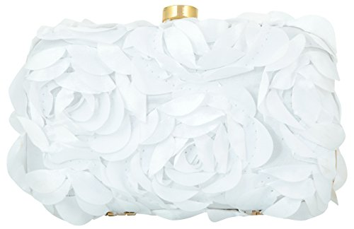 Tooba Women's Clutch (White, White Self Rose 6X4)
