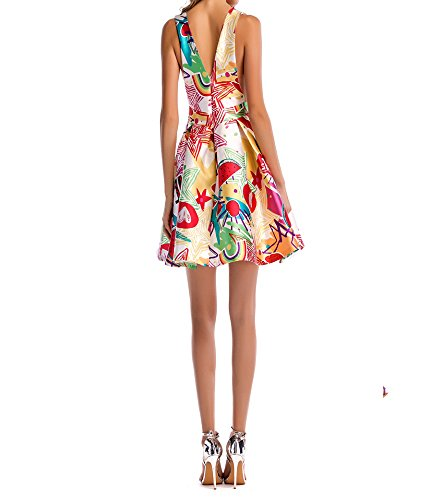 RBB Sommer Twill Print tiefem V-Ausschnitt Sleeveless Sexy A-Line Damen Kleid,Weiß,S -