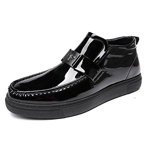 Uomo Mattina Scarpe di pelle Plus cashmere Tenere caldo Stivali di cotone Fondo spesso Scarpe da sera euro DIMENSIONE 38-43 Black