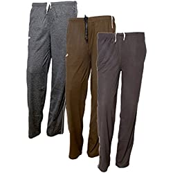 IndiWeaves Women's Premium Cotton Lower with 1 Zipper Pocket and 1 Open Pocket(Pack of 3)_Grey::Brown::Black-38